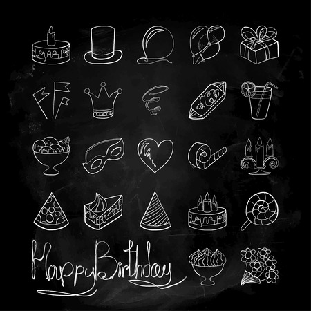 Vector illustration. Doodle. Icons on a theme birthdayAgainst the background of blackboard chalk