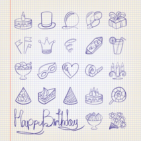 Vector illustration. Doodle. Icons on a theme birthday Against the background of notebook sheet Vectores
