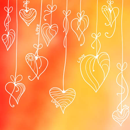 vector illustration. Multicolored blurred backgrounds with Dudley. Card with hearts and garlands. Valentines Day Vectores