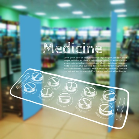 vector illustration. Blurred background photo pharmacies, and sketch tablets