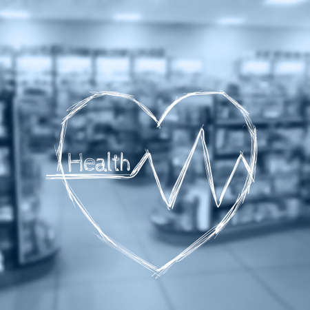 beat: Vector illustration. Blurred background photo pharmacies. Sketch - Heart beat Illustration