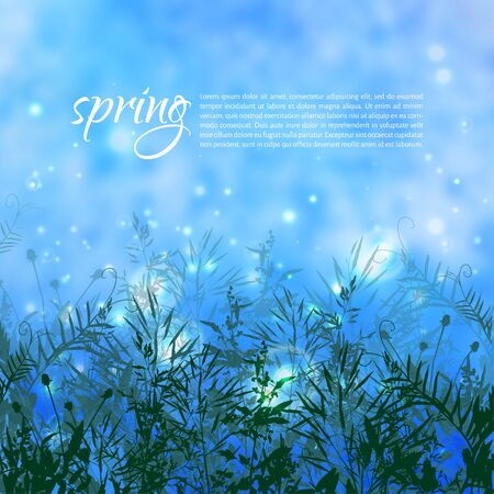 Vector illustration. Bright spring background with element of grass and leaves
