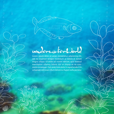 Vector illustration. Blurred background photo. Seabed with sketch - ryyuami, algae and place for text