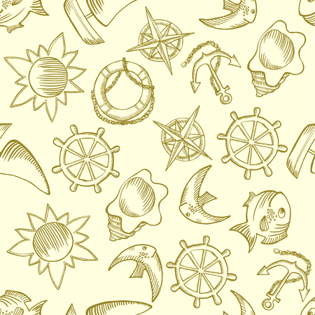 vector illustration. Kids seamless pattern with sea elements Vectores