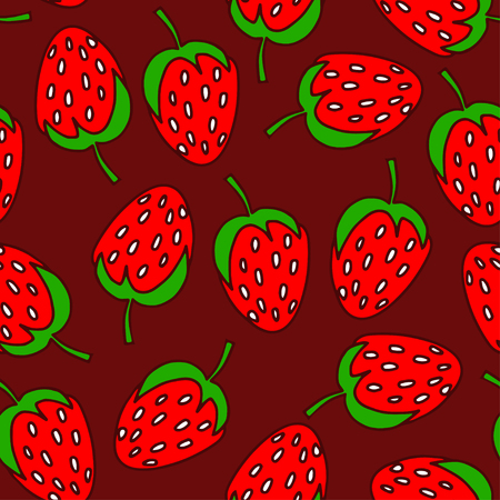 illustration. Seamless pattern of doodles - strawberries.  On chocolate background