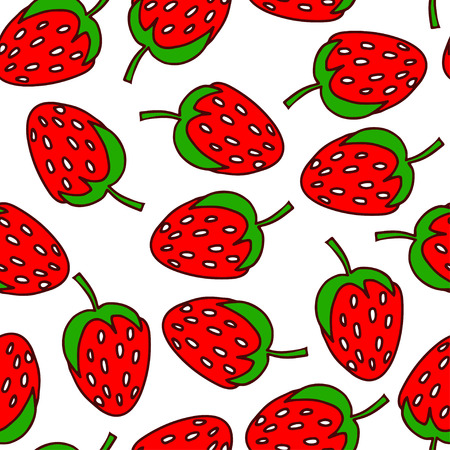 illustration. Seamless pattern of doodles - strawberries. On a white background Vectores