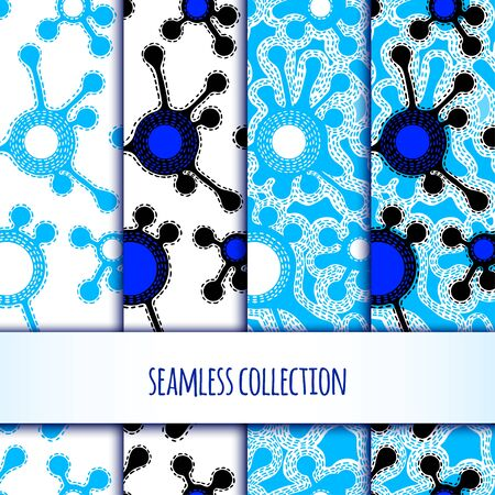 illustration. Set of seamless pattern of stylized molecules. Vectores