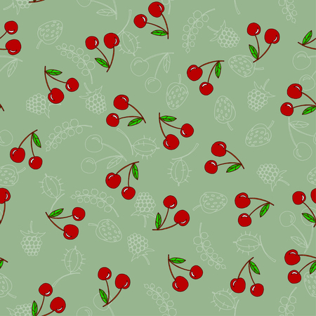 illustration. seamless pattern of cherries Vectores