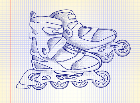 rollerskate: illustration. Sketch roller skate on the background of notebook sheet. Styling drawing pen.