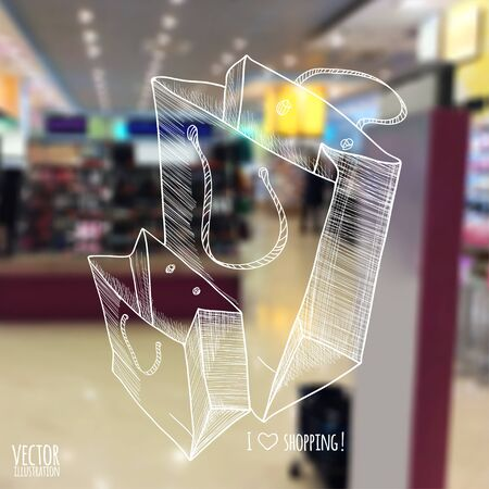 illustration. blurred background store with a sketch. Shopping bags. Vectores