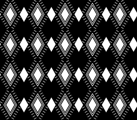 illustration. Seamless black and white pattern of rhombus and lines.