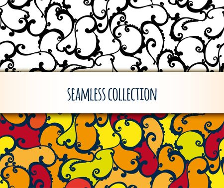 illustration. set of seamless pattern of twirl. Black and white and colorful