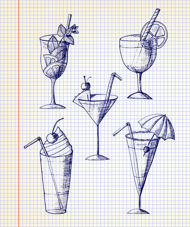 illustration. Sketch. The collection of drinks and cocktails on the background of notebook sheet Vectores