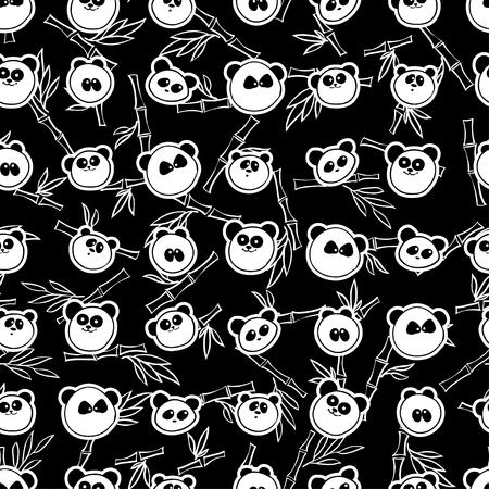characteristic: illustration. Seamless pattern with characteristic portraits of pandas and bamboo Illustration