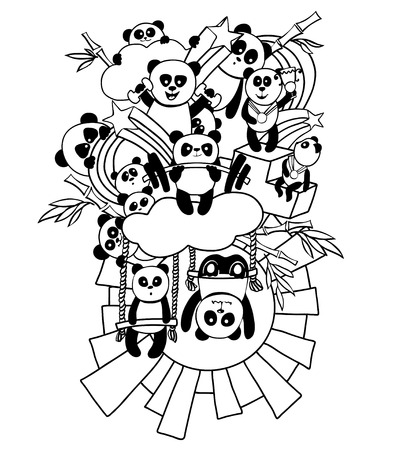 illustration. Abstract doodle with the sun, clouds, rainbow and stars.  Cute cartoon pandas do sports. Healthy lifestyle. Black and white