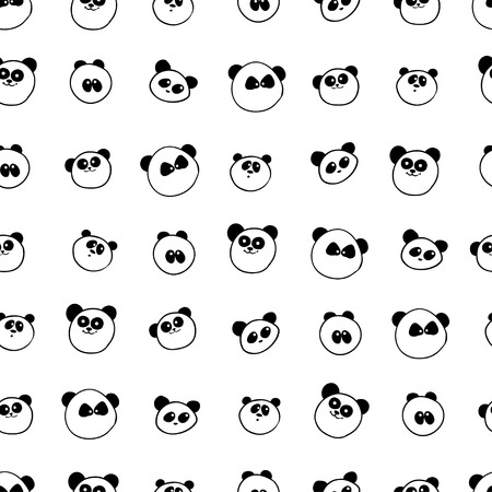 characteristic: illustration. Seamless pattern with characteristic portraits of pandas