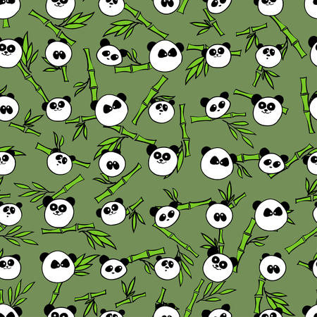 illustration. Seamless pattern with characteristic portraits of pandas and bamboo Vectores