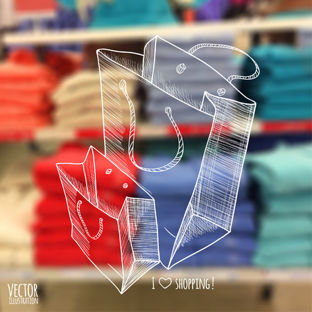 illustration. blurred background store with a sketch. Shopping bags.  Clothing store. Vectores