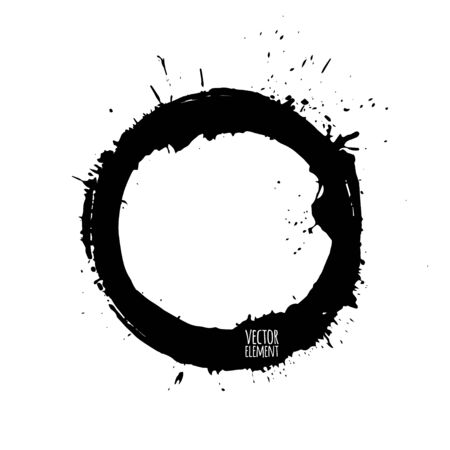 illustration. Set of blots and splashes, black silhouettes on a white background