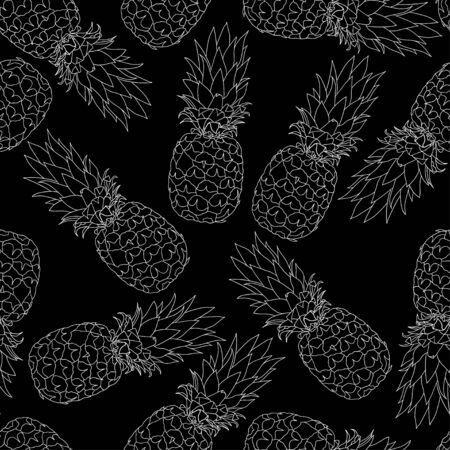 illustration. Seamless pattern of pineapples. Black and white. sketch.