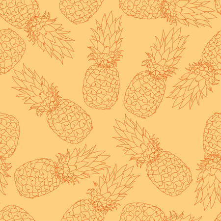 illustration. Seamless pattern of pineapples. sketch. Vectores