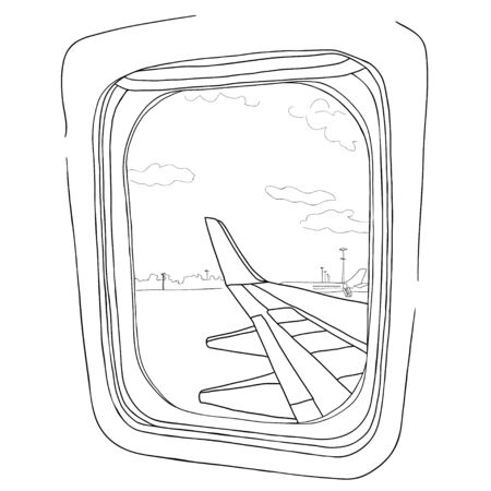 illustration. Sketch - view from the airplane window on a white background.