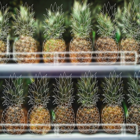 illustration. Sketch of pineapple on a background of blurred pictures of pineapples on a shelf in a store