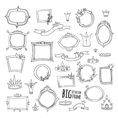 illustration. colored doodle - set of frames, ribbons and crown on a white background