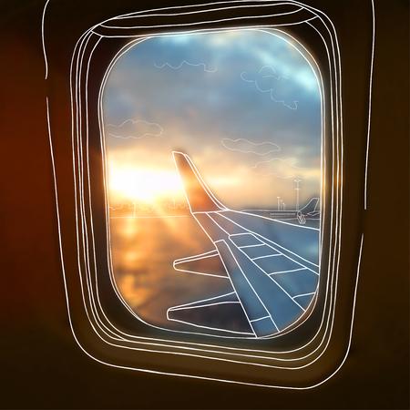 illustratie. Sketch - uitzicht vanuit het vliegtuig venster op de achtergrond van onscherpe foto