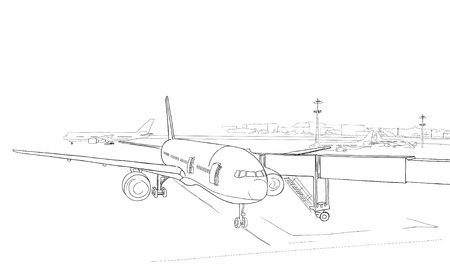 illustration. sketch - the airport and the plane on a white background