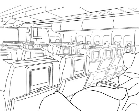 Ilustración. bosquejo - la cabina del avión sobre un fondo blanco Foto de archivo - 54597283