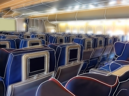 illustration. sketch - the aircraft cabin  on a background of blurred photo