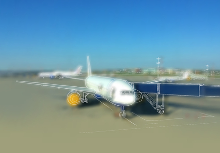 illustration. sketch - the airport and the plane on the background of blurred photos