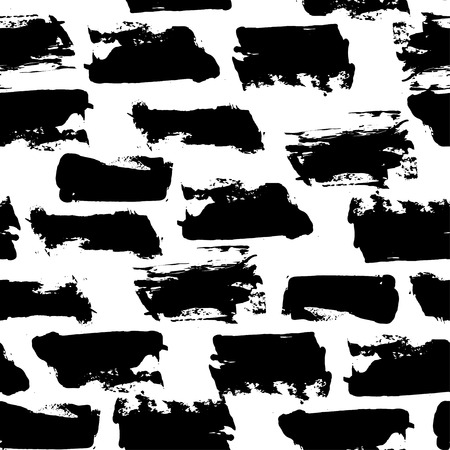 illustration. Grunge. seamless pattern of strokes. Black and white Vectores