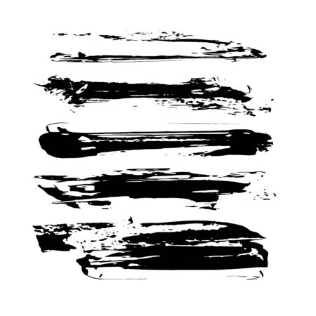 illustration. Brush Collection - grungy brush strokes isolated on white background
