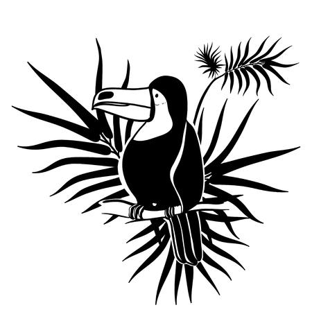 Ilustración vectorial Artes graficas. Tucán. Pájaro tropical del tucán en un fondo de hojas tropicales. En blanco y negro. Foto de archivo - 77395640
