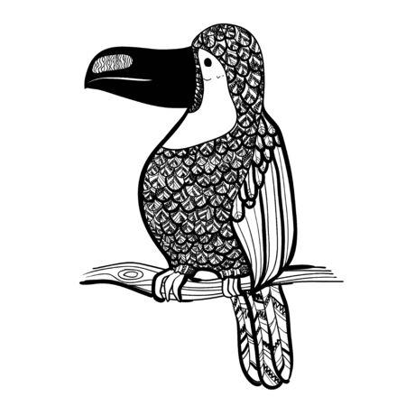 Ilustración vectorial Artes graficas. Tucán. Pájaro tropical del tucán en un fondo de hojas tropicales. En blanco y negro. Foto de archivo - 77395641