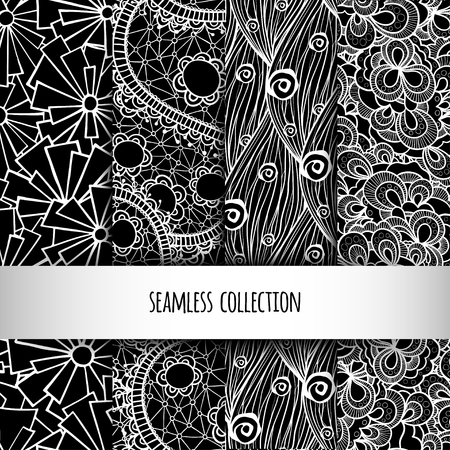 Vector illustration. Collection of seamless lace patterns. Doodle. Black and white. Vectores