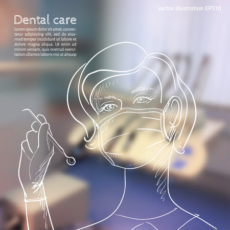 Vector illustration. Blurred background a dentist, with sketch - tooth doctor with dental tools in hand Vectores