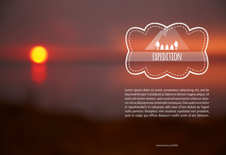 Vector illustration. Blank. The label on the topic of travel with the text on the background of blurred photos sunset
