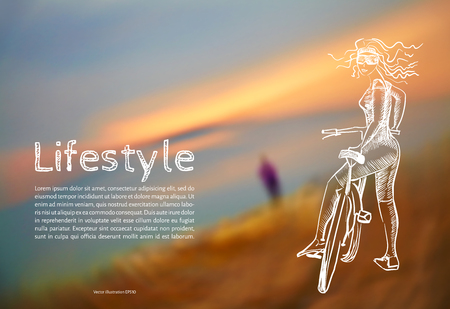 Vector illustration. Blank. Lifestyle. Sketch athletic girl with a bicycle with the text on the background of blurred photos of the sunset. Vectores