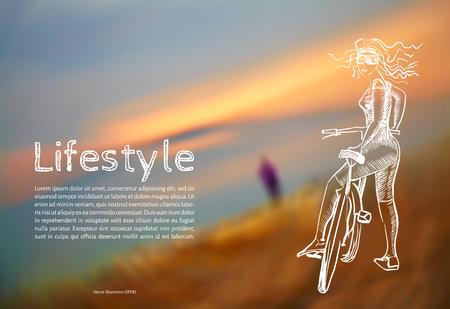 Ilustración vectorial Blanco. Estilo de vida. Bosqueje a la muchacha atlética con una bicicleta con el texto en el fondo de las fotos borrosas de la puesta del sol. Foto de archivo - 82968988