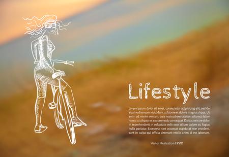 Ilustración del vector. Blanco. Estilo de vida. Boceto chica atlética con una bicicleta con el texto en el fondo de fotos borrosas de la puesta de sol. Foto de archivo - 82959311