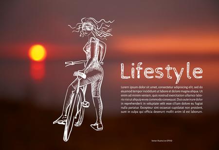 Ilustración del vector. Blanco. Estilo de vida. Boceto chica atlética con una bicicleta con el texto en el fondo de fotos borrosas de la puesta de sol. Foto de archivo - 82962288