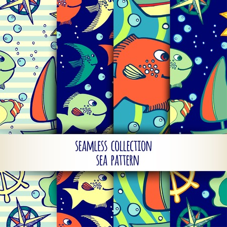 vector illustration. Set of kids seamless patterns with sea elements.