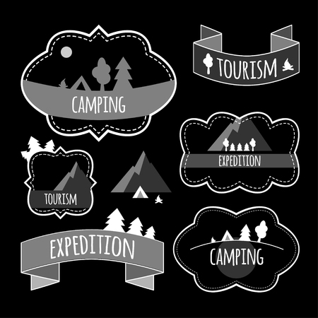 Vector illustration. Labels on the theme: tourism, travel, mountains, hiking, camping Vectores