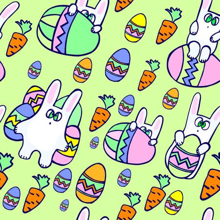Ilustración vectorial sin costuras de huevos decorativos Doodle y conejitos para Pascua, Foto de archivo - 88359714