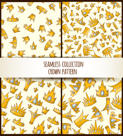 Doodle seamless pattern with golden crowns