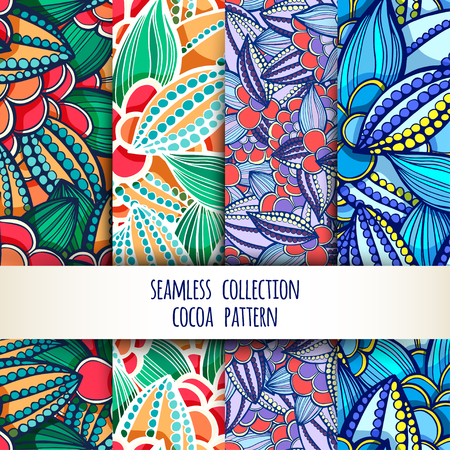 Vector illustration. Set. seamless patterns of stylized leaves and fruits of cocoa beans. Vectores