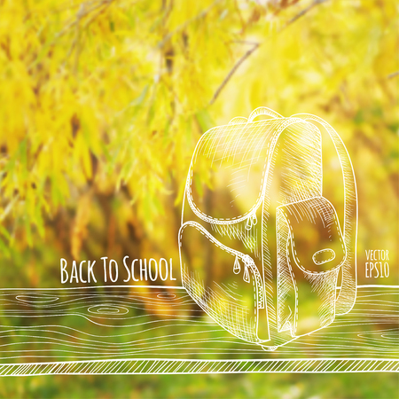 Vector illustration. Blurred photo background, autumn nature. Sketch - a wooden board with a school bag. Back to school. Vectores